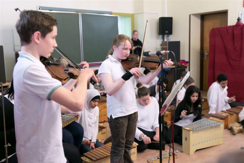 Schüler der Musik AG der Frankfurter Fürstenbergschule.