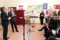Auftaktveranstaltung für das Projekt Meine Zeitung in der Frankfurter Fürstenbergschule mit F.A.Z.-Herausgeber Werner D'Inka, SPTG-Chef Ronad Kaehlbrandt und Schuldezernetin Sarah Sorge.